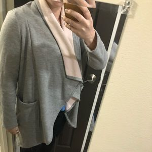 Fabletics Gray and Pink Oversized Cardigan